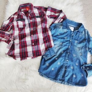 Crystal & Bead Embellished plaid and denim shirts